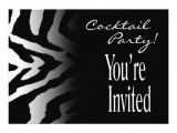 Black and White Cocktail Party Invitations Funky Zebra Black White Cocktail Party Personalized