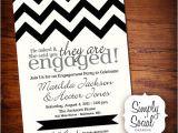 Black and White Engagement Party Invitations Black and White Chevron Engagement Party Invitation