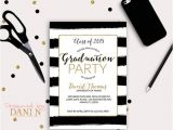 Black and White Graduation Invitations Black and White Stripes Graduation Invitation Gold Grad