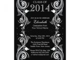 Black and White Graduation Invitations Elegant Black White Graduation Party Invitation Zazzle