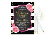 Black and White Graduation Invitations Floral Graduation Invitation Black White Stripe