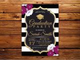 Black and White Graduation Invitations Graduation Party Invitation Black White Stripe Floral