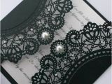 Black and White Lace Wedding Invitations Black Lace Wedding Invitation with Pearl Details 1901179