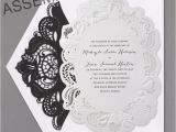 Black and White Lace Wedding Invitations Designs Black and White Wedding Invitations with Red Rose