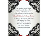 Black and White Lace Wedding Invitations Red White and Black Lace Wedding Invitation Zazzle