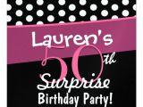 Black and White Polka Dot Birthday Invitations 50th Surprise Birthday Black White Polka Dots Pink 5 25
