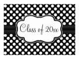 Black and White Polka Dot Birthday Invitations Posh Black White Polka Dot Graduation Party Personalized