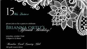 Black and White Quinceanera Invitations Black Floral Lace Quinceanera Invitation Quinceanera