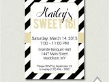 Black and White Quinceanera Invitations Sweet 16 Invitation Black and White Party Gold by