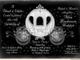 Black and White Quinceanera Invitations Two toned Fairytale Quinceanera Invitation Black White