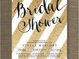Black White and Gold Bridal Shower Invitations Black & Gold Bridal Shower Invitation Glitter Stripes Metallic