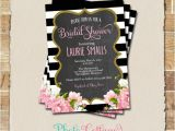 Black White and Gold Bridal Shower Invitations Bridal Shower Invitation Glitter Gold Invitation Peony