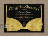 Black White and Gold Bridal Shower Invitations Bridal Shower Invitation Gold Black Lingerie Printed