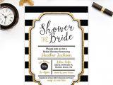 Black White and Gold Bridal Shower Invitations Bridal Shower Invitation Gold Glitter Bridal Shower