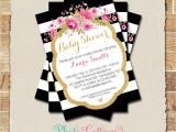 Black White and Pink Baby Shower Invitations Baby Shower Invitation Glitter Gold Pink Invitation