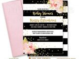 Black White and Pink Baby Shower Invitations Black & White Baby Shower Invitation Pink Peonies Black