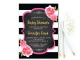 Black White and Pink Baby Shower Invitations Black & White Stripe Baby Shower Invitation Pink and Gold