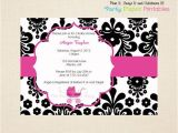 Black White and Pink Baby Shower Invitations Black and White Damask Baby Shower Invitation with Hot