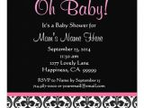 Black White and Pink Baby Shower Invitations Cute Black White Feather Pink Damask Baby Shower 5 25×5 25
