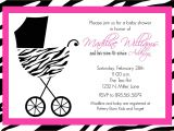 Black White and Pink Baby Shower Invitations Pink and Black Zebra Baby Shower Invitations