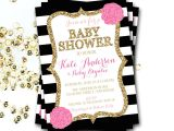 Black White and Pink Baby Shower Invitations Pink Black and White Baby Shower Invitation Pink and