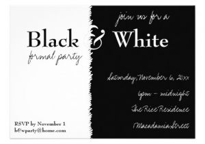 Black White Party Invitation Wording Black and White theme Party Invitation 13 Cm X 18 Cm