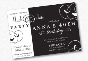 Black White Party Invitation Wording White Party Invitation Wording Black and White Party