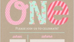 Blank 1st Birthday Invitation Template Pink and Mint First Birthday Fill In the Blank Invitation