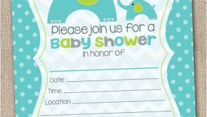Blank Baby Boy Shower Invites Ink Obsession Designs Fill In the Blank Elephant Baby