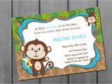 Blank Monkey Baby Shower Invitations Monkey Blue Boy Baby Shower Invitation Free Thank You Card