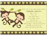 Blank Monkey Baby Shower Invitations Monkey Twins Baby Shower Party Invitations Bs161