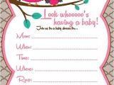 Blank Owl Baby Shower Invitations Owl Girl Baby Shower Invitation Email Me to Costum order