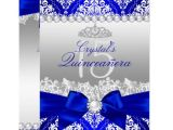 Blank Quinceanera Invitations Royal Blue Damask Pearl Bow Quinceanera Invite Zazzle Com