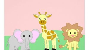 "Blank Safari Baby Shower Invitations Jungle Baby Animals Baby Shower Invitations Blank 5"" X 7"
