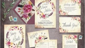 Blank Wedding Invitation Sets Floral Wedding Invitation Set Printable Boho Wedding