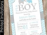 Blue and Gray Elephant Baby Shower Invitations Printed Boy Elephant Baby Shower Invitation Blue and Grey