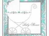 Blue and Silver Baby Shower Invitations Teal Blue Silver Carriage Baby Shower Invitations