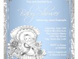 Blue and Silver Baby Shower Invitations Vintage Silver and Blue Baby Boy Shower 5 25×5 25 Square