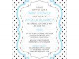 Blue and White Baby Shower Invitations Baby Shower Invite Chic Retro Black White Polka Dots Blue