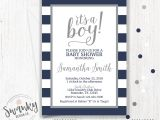 Blue and White Baby Shower Invitations Navy and Gray Baby Shower Invitations Boy Baby Shower