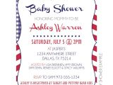 Blue and White Baby Shower Invitations Red White & Blue Invitation