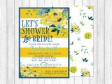 Blue and Yellow Bridal Shower Invitations Bridal Shower Invitation Blue and Yellow Floral Shower