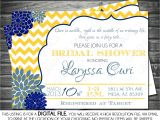Blue and Yellow Bridal Shower Invitations Bridal Shower Invitation Chevron Yellow Navy Blue Mums