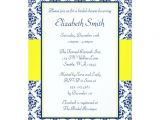 Blue and Yellow Bridal Shower Invitations Navy Blue and Yellow Damask Bridal Shower 5×7 Paper