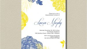 Blue and Yellow Bridal Shower Invitations Printable Bridal Shower Invitation Royal Blue and Yellow