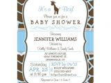 Blue Giraffe Baby Shower Invitations Blue Giraffe Print Boy Baby Shower Invitation Postcard