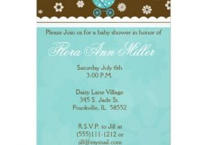 "Blue Green Brown Baby Shower Invitations Blue and Brown Baby Buggy Baby Shower Invitation 5"" X 7"