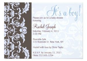 Blue Green Brown Baby Shower Invitations Blue and Brown Damask Baby Shower Invitation