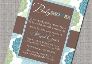 Blue Green Brown Baby Shower Invitations Green Blue and Brown Boy Baby Shower by Alittletreasure On