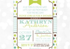 Blue Green Brown Baby Shower Invitations Little Man Baby Shower Invitation Baby Boy Invite Bow Tie